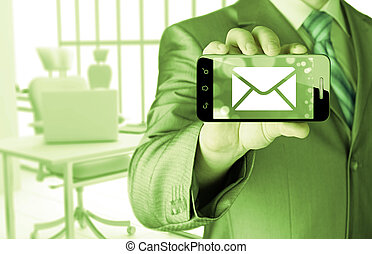 man holding smartphone with one new message on a screen