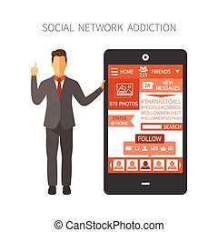 Man holding smartphone with social network app showing numbers of photos, friends, followers, messages, likes end etc.
