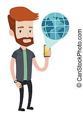 Man holding smartphone with virtual globe model.