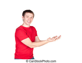 man holding something