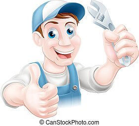 A plumber or mechanic in baseball cap holding a spanner and giving a thumbs up