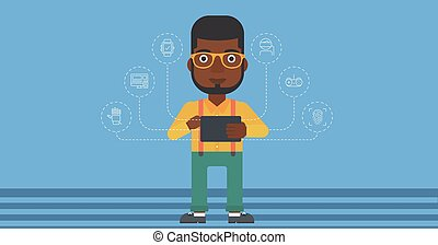 Man holding tablet computer.