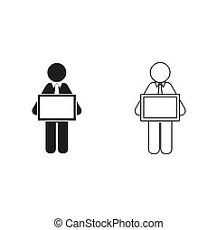 man holding tablet - green vector icon