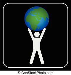Man holding the earth, vector