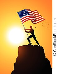 Man holding the flag of The United States of America