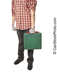 man holding toolbox in hand