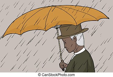 Man Holding Umbrella in Storm
