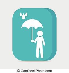 Man holding umbrella in the rain button vector illustration