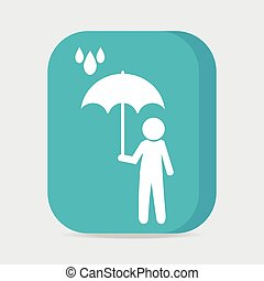 Man holding umbrella in the rain button vector illustration