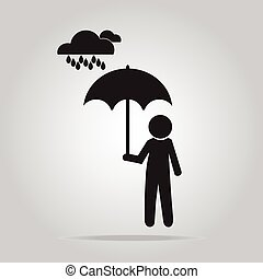 Man holding umbrella in the rain illustration