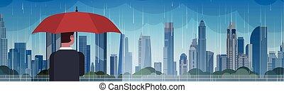 Man Holding Umbrella Look At Storm In City Huge Rain...