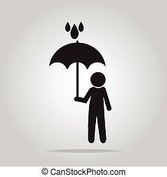 Man holding umbrella sign