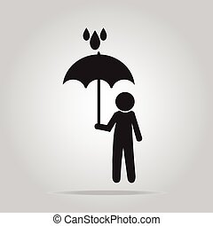 Man holding umbrella sign