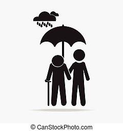 Man holding umbrella with elderly in the rain illustration