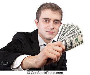 Man holding up banknotes