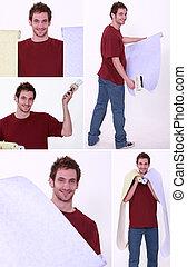 Man holding wallpaper rolls