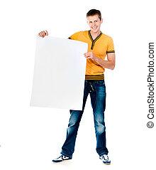 man holding  white blank