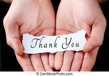 Man holding thank you word in palm