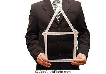 man, holdingen, a, symbol, av, hus, in, hans, hand