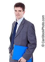 man, holdingsklembord, zakelijk