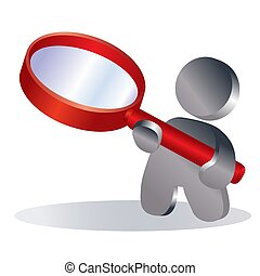 man holds a big red magnifying glass in his hands, symbol, isolated object on a white background, vector illustration,