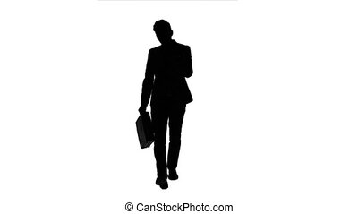 Man holds a briefcase in his hand, he rushes over it. White...