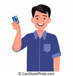 Man holds a credit card in his hand.