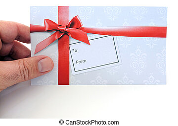 Man holds a gift card