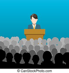 Man holds a lecture to an audience illustration