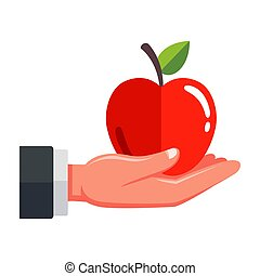 man holds a red apple in his hand on a white background.