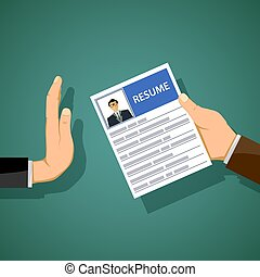 Man holds a resume in his hand. Job search and unemployment