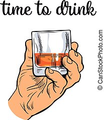 Hand holding a full glass of whiskey, vector illustration sketch art by hand, isolation on a white background male hand with a stack owith strong alcohol, the concept of time to drink alcohol