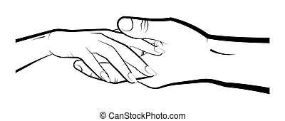 man holds a womans hand in his palm. Marriage, family, wedding ceremony. Isolated eyelid on a white background