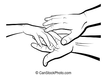 man holds a womans hand in his palms. Marriage, family, wedding ceremony. Isolated eyelid on a white background