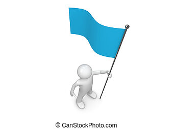 Man holds blue flag on flagpole - 3d isolated characters on ...