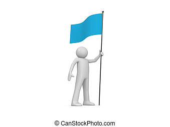 Man holds blue flag on flagpole