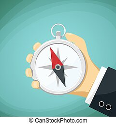 Man holds in his hand a compass. Stock Vector cartoon illustrati