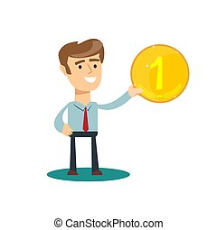Man holds in his hand a gold coin . Stock vector