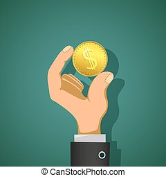 Man holds in his hand a gold coin dollar. Stock vector illustrat
