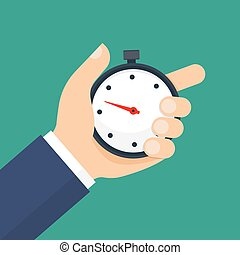 Man holds in his hand a sports stopwatch.