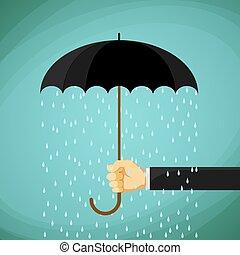 Man holds in his hand an umbrella. Stock Vector cartoon illustra