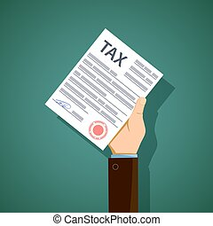 Man holds in his hand the form of tax reporting. Stock vector il