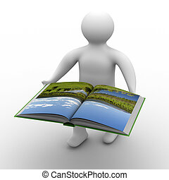 man holds open book on white background. Isolated 3D image