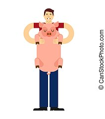 Man holds pig in his arms. Guy and Pet pig