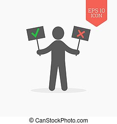 Man holds right and wrong signs icon. Flat design gray color symbol.