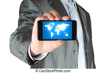 Man holds smart phone with map on white background