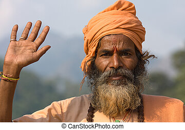 man)., (holy, indian, india., sadhu