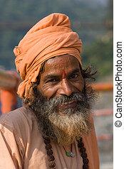 man)., (holy, indien, india., sadhu