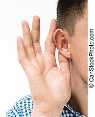 man, houden, zijn, hand, dichtbij, zijn, oor, en, het...