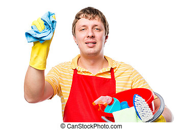 man housewife with cleaning tools on a white background